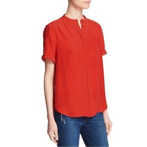 Frame le flutter blood orange silk blouse